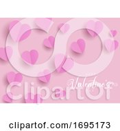 Poster, Art Print Of Happy Valentines Day Background With Folded Hearts