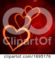 Valentines Day Background With Grunge Style Hearts Design