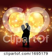 Poster, Art Print Of Valentines Day Background With Silhouette Of A Loving Couple On A Heart Design