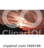 3D Trees On Island Against A Sunset Sky