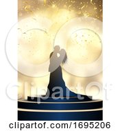 Silhouette Of A Bride And Groom On A Spotlit Podium With Confetti