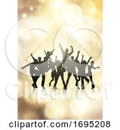 Party Crowd On A Gold Bokeh Lights Background