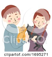 Teen Couple Cats Pets Illustration