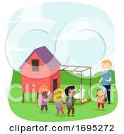 Stickman Kids Chicken Coop Illustration