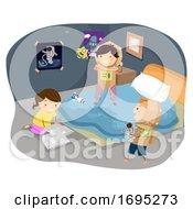 Stickman Kids Astronaut Cardboard Illustration