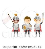 Poster, Art Print Of Stickman Kids Boys Knights Illustration