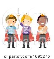 Stickman Kids Boys Princes Illustration