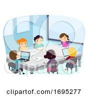Stickman Kids Class Brainstorming Illustration