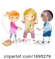 Poster, Art Print Of Stickman Kids Astronaut Suit Illustration
