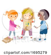 Stickman Kids Astronaut Suit Illustration