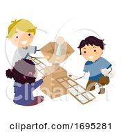 Stickman Kids Satellite Model Illustration