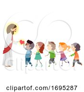 Stickman Kids Jesus Give Hearts Illustration