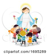 Stickman Kids Mother Mary Flowers