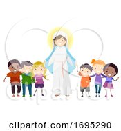 Poster, Art Print Of Stickman Kids Mother Mary Kids Hold Hands