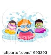 Stickman Kids Paddle Board Swim Illustration