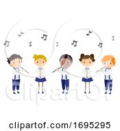 Poster, Art Print Of Stickman Kids Performance Flute Illustration