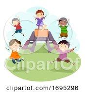Stickman Kids Picnic Table Jump Illustration