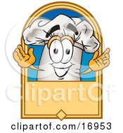 Clipart Picture Of A Chefs Hat Mascot Cartoon Character On A Blank Label