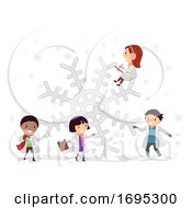Stickman Kids Snowflakes Science Experiment