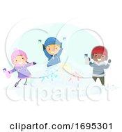 Poster, Art Print Of Stickman Kids Snow Paint Illustration