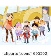 Stickman Kids Snow Winter Field Trip Line