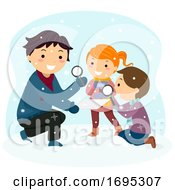 Stickman Kids Snowflakes Magnifying Glass Observe