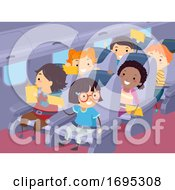 Stickman Kids Travel Airplane Illustration