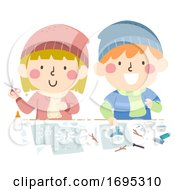Kids Winter Artwork School Activity Illustration