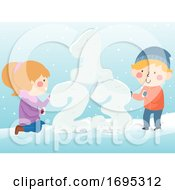 Kids 123 Building Snow Illustration