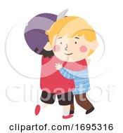 Kids Boys Hug Empathy Illustration