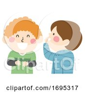 Kids Boys Laugh Whisper Illustration