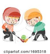 Kids Boys Play Broomball Illustration
