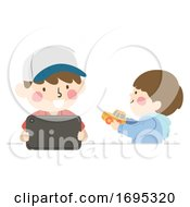 Kids Boys Siblings Invite To Play Illustration