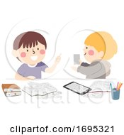 Poster, Art Print Of Kids Boys Study Buddy Friend Illustration