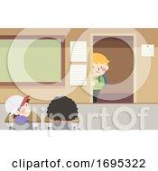 Kids Classroom Timid Kid Boy Door Illustration