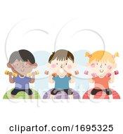 Poster, Art Print Of Kids Dumbbell Exercise Ball Illustration