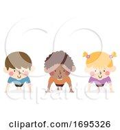 Poster, Art Print Of Kids Exercise Push Up Illustration