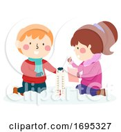 Kids Experiment Thermometer Winter Illustration