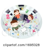 Kids Float Space Education Illustration
