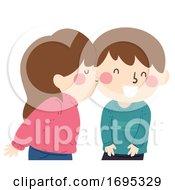 Poster, Art Print Of Kids Friends Kiss Cheeks Illustration