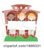 Kids Girls School Building Banner Illustration