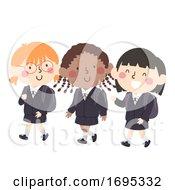 Kids Girls School Uniform Illustration