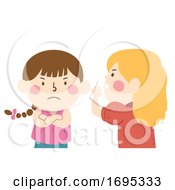 Kids Girls Whisper Angry Gossip Illustration