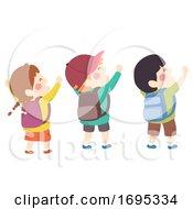 Kids Hands Up Group Empowered Illustration