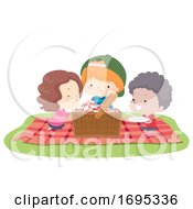 Kids Picnic Basket Blanket Illustration