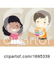 Poster, Art Print Of Kids Sharing Books Illustration