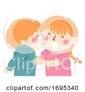 Poster, Art Print Of Kids Siblings Kiss Boy Illustration