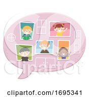 Kids Speech Bubble Windows Illustration