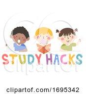 Poster, Art Print Of Kids Study Hacks Illustration