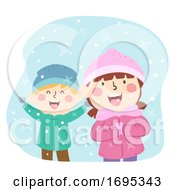 Kids Taste Snow Winter Education Illustration